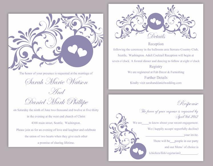 Diy Wedding Invitation Template Set Editable Word File Printable Purple Eggplant Heart