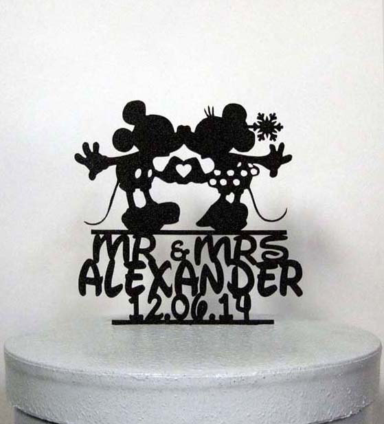mickey and minnie silhouette wedding cake topper personalized winter wedding cake topper mickey and 17345