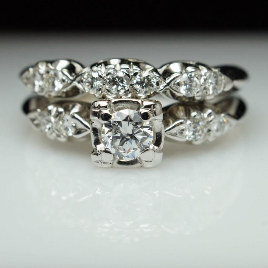 Vintage Art Deco Diamond Bridal Set Engagement Ring Matching Wedding Band Antique