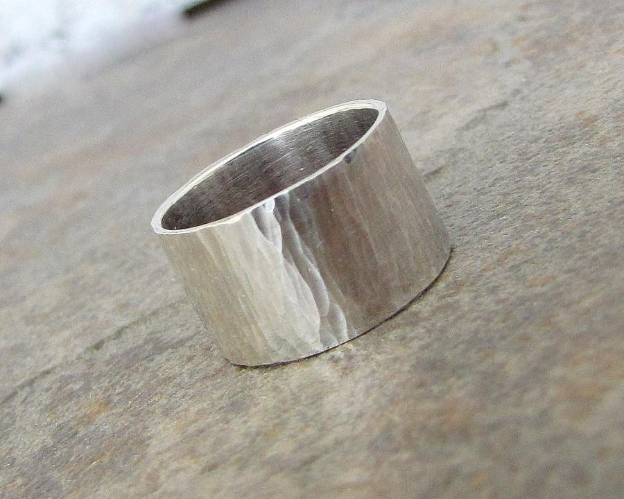 Mens Wedding Band Silver Hammered Ring Wide Rustic Bands Unique Bark First Finger Gift For Him