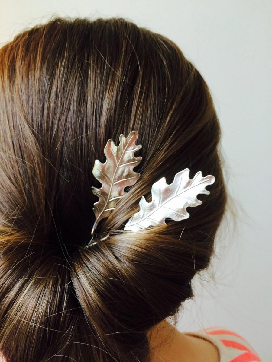 silver oak leaf hair pins silver bobby pins leaf barrettes oak leaf