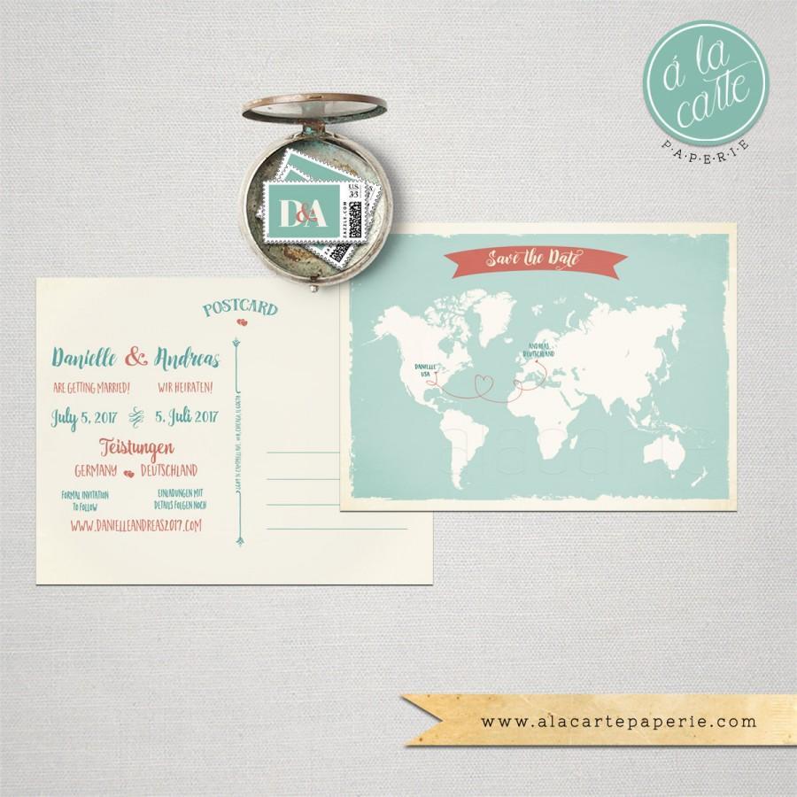 Destination Wedding Bilingual Save The Date Card World Map Two Language Invitation International