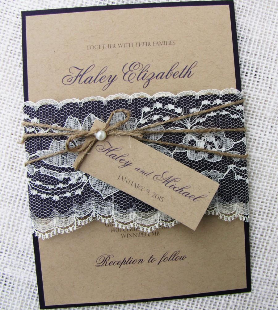 Rustic Wedding Invitation Lace Shabby Chic