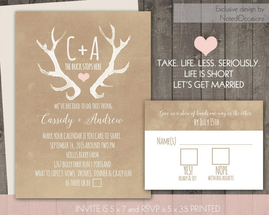 Deer Antlers Rustic Wedding Invitation Set Casual
