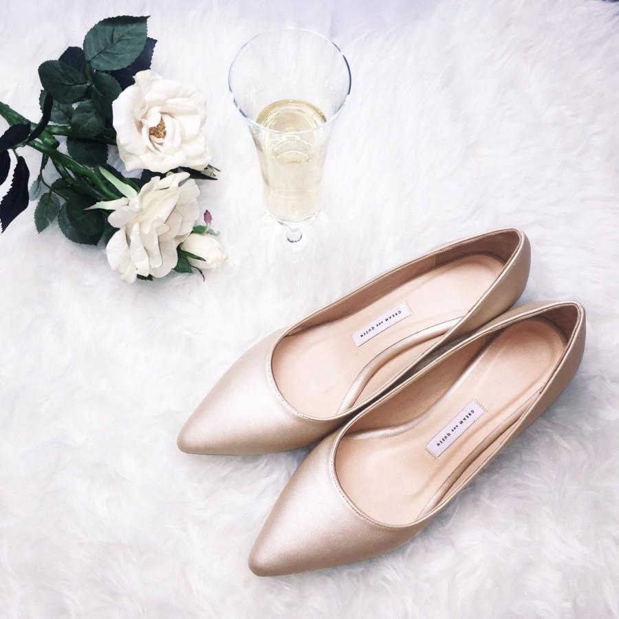 Low Heel Wedding Shoes Womens Bridal Bridesmaid Pumps Heels Beige Gold Champagne