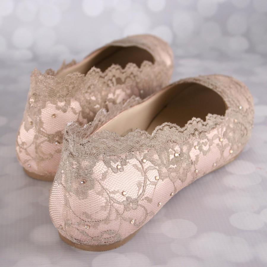 Wedding Shoes Blush Shoe Flats Gold Lace Bling Ideas Bridal