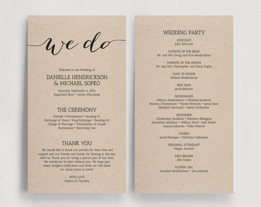 Wedding Programs Printable Template Program We Do Diy Pdf Instant Kraft