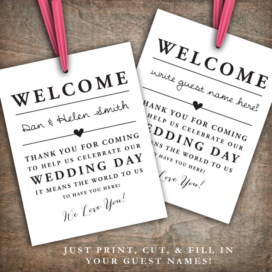 Instant Printable Wedding Welcome Bag Tags Labels Hotel Bags Destination Thank You