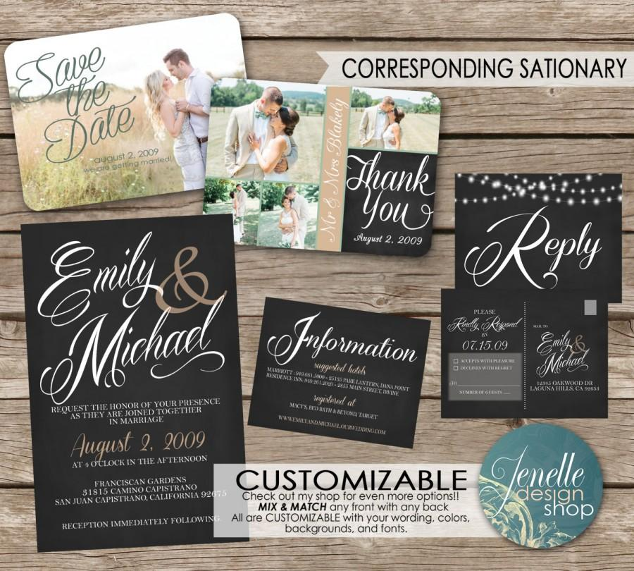 Wedding Invitations Save The Date Thank You Postcard Printable Chalkboard