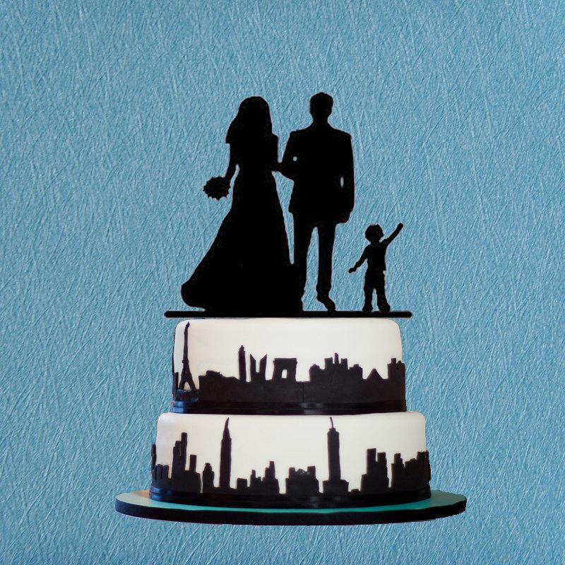 wedding cake toppers with baby boy and groom cake topper with kid silhouette wedding 26625