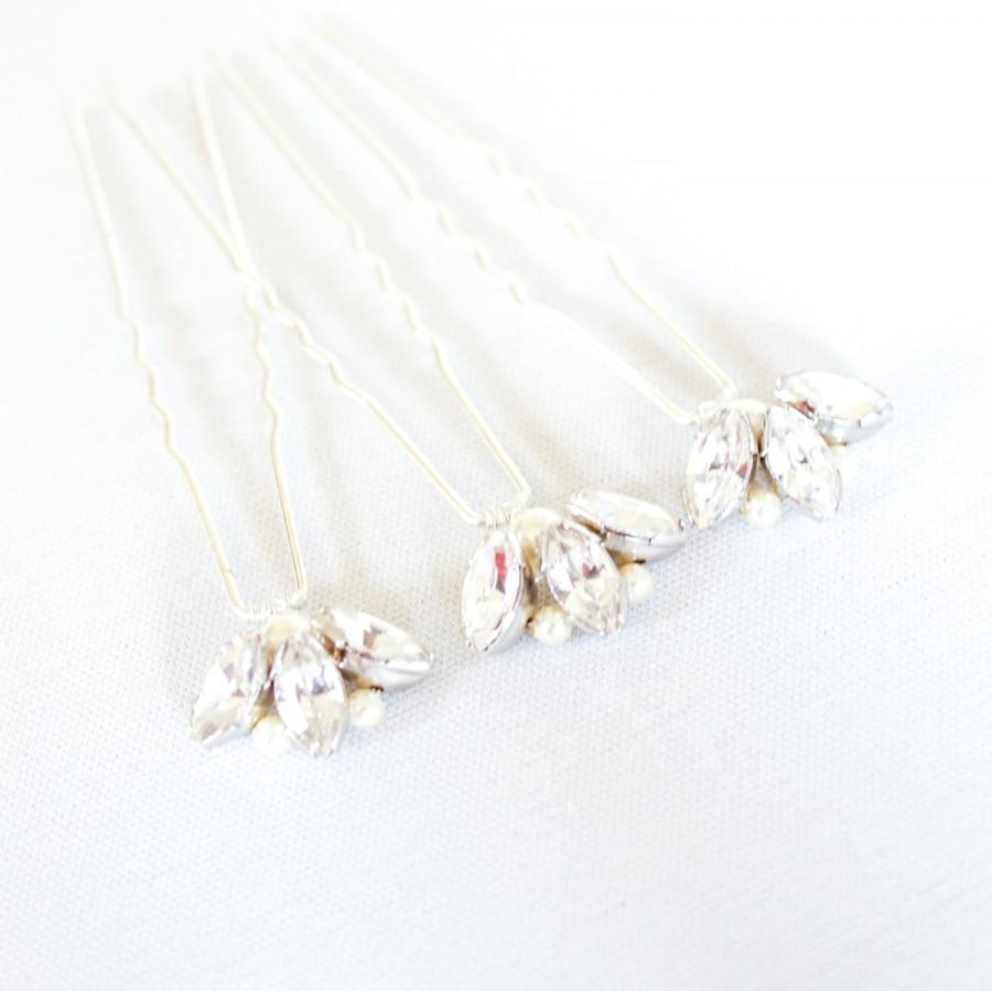 diamante wedding hair pins. set of 3 bridal hair pins. rhinestone
