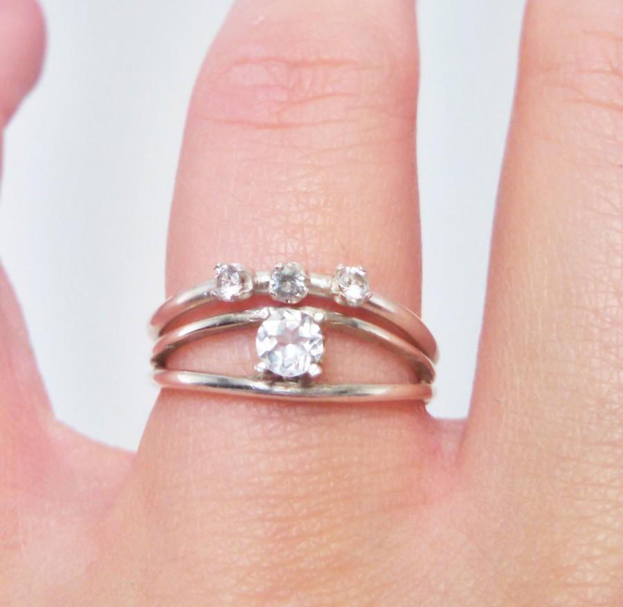 White Topaz Bridal Set Double Band Engagement Curved Wedding Ring Argentium Silver