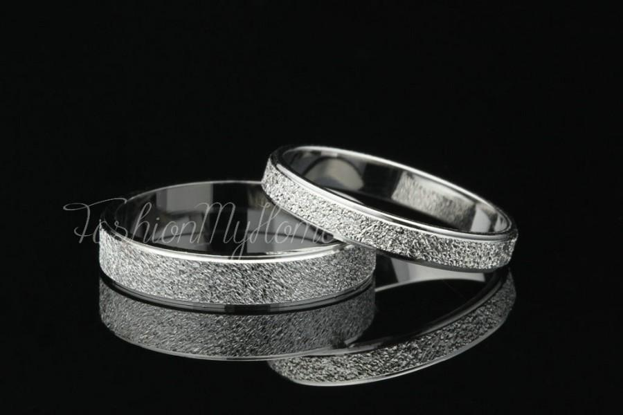 2pcs S Rings Set Solid Sterling Silver Ring Frosted Custom Engraving Wedding His And Her Promise Valentine Gift