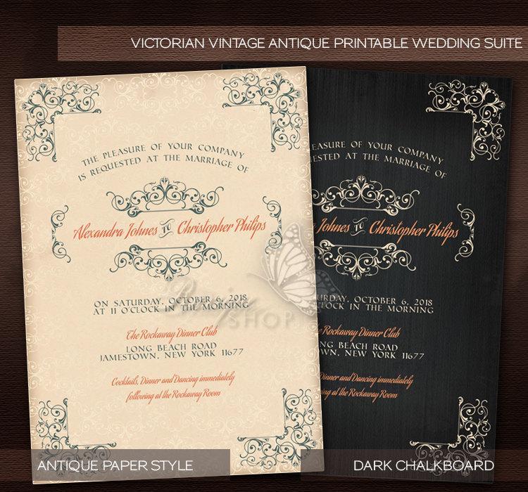 Antique Victorian Style Vintage Wedding Suite Printable Diy Invitation Rsvp Thank You Card