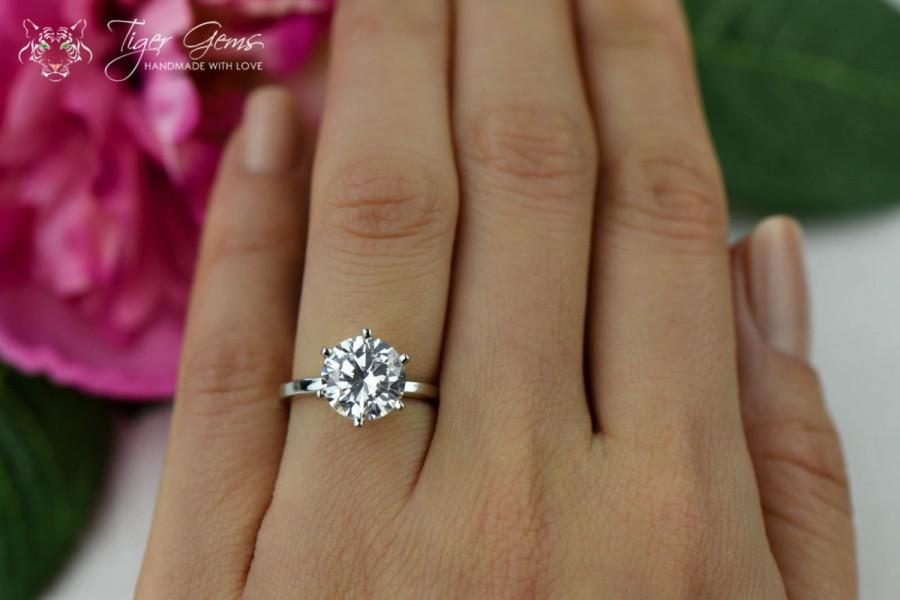 3 Carat Round 6 Prong Solitaire Engagement Ring Promise Ring Man Made Diamond Simulant Wedding Ring Bridal Sterling Silver Birthstone 2463619 Weddbook