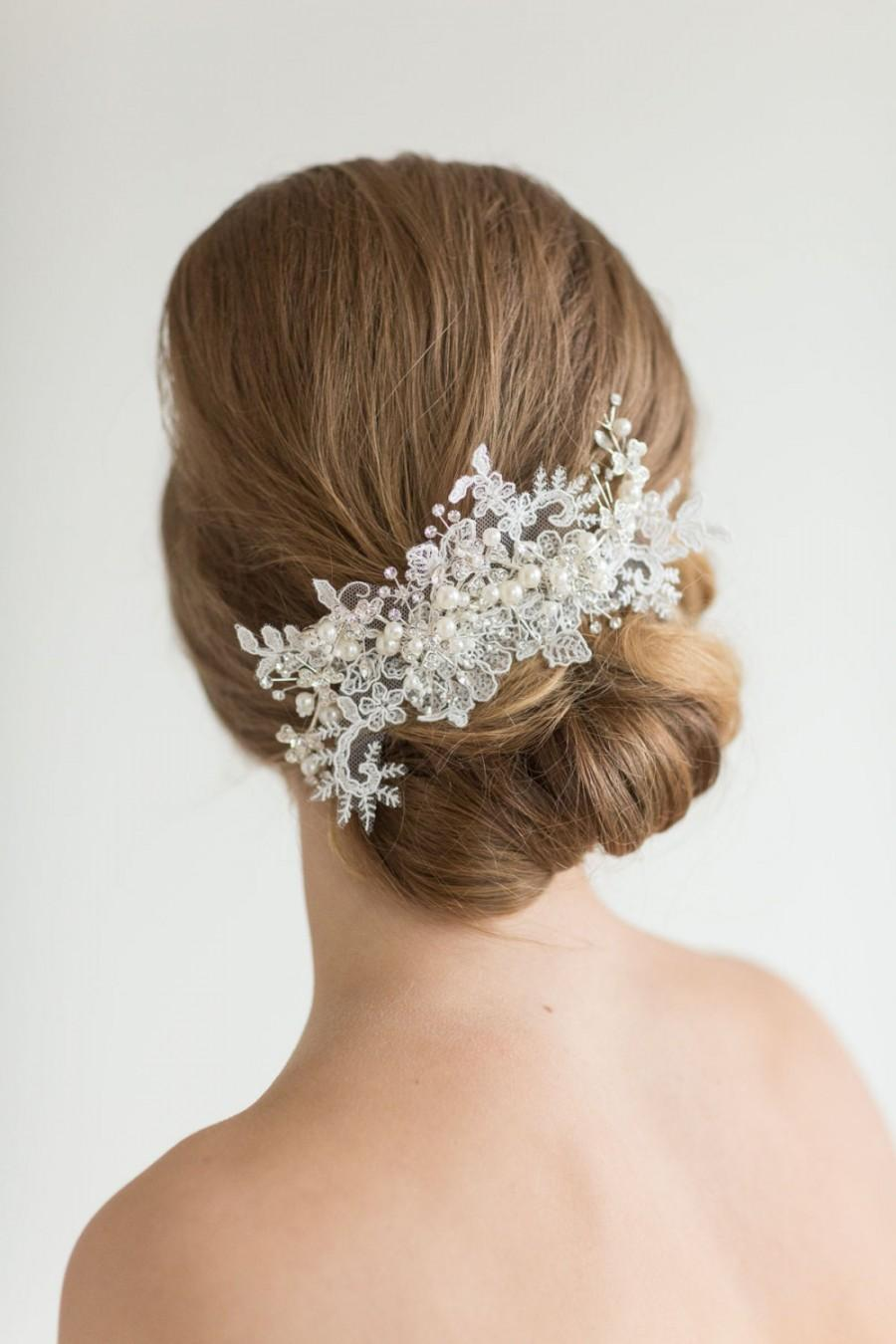 lace headpiece, crystal pearl and lace hair comb, wedding hair