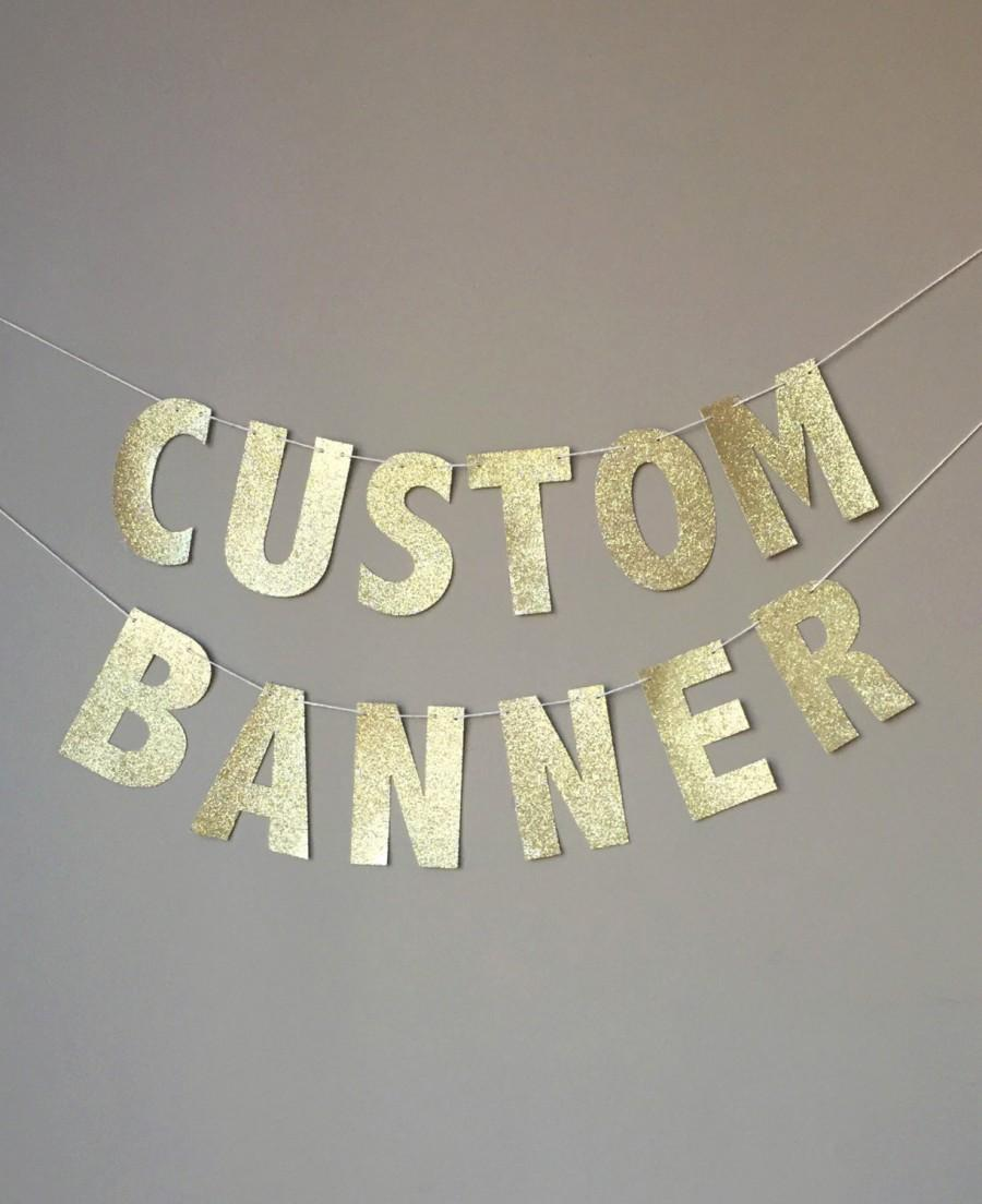 Attractive Custom Gold Glitter Banner, Custom Name Banner, Custom Birthday  JP59