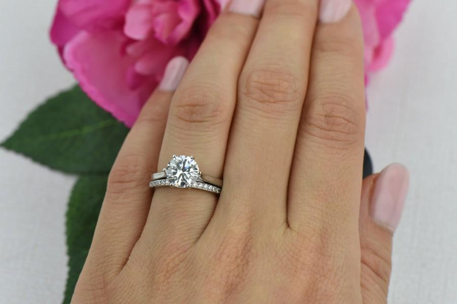 2 Carat Clic Solitaire Ring Engagement Low Profile Bridal Set Man Made Diamond Simulant Wedding Sterling Silver