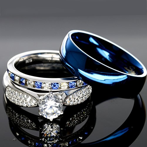 His And Hers 925 Sterling Silver Blue Shire Stainless Steel Wedding Rings Set