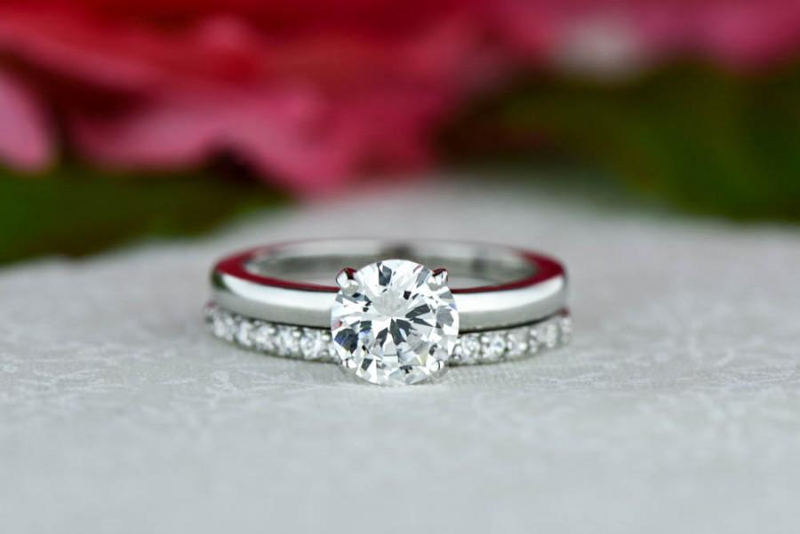 1 25 Ctw Round Solitaire Ring Half Eternity Wedding Set Man Made Diamond Simulant Engagement Clic Bridal Sterling Silver
