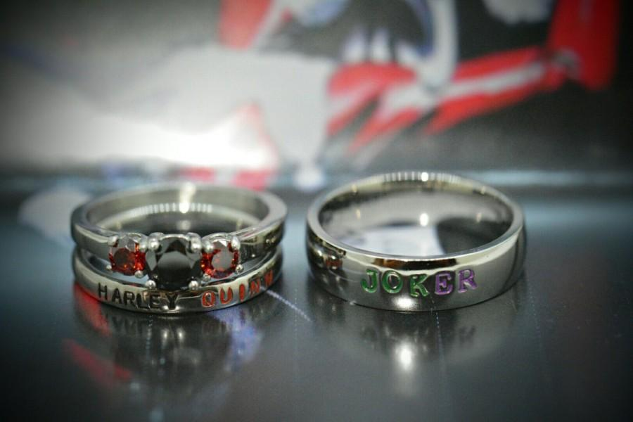 Harley Quinn And Joker Rings Black Diamond Cz Garnet Complete 3 Piece Wedding Set Dc Comics Villians