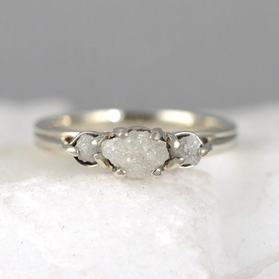 14k White Gold Raw Diamond Trio Ring 3 Engagement April Birthstone Rings Uncut Rough Gemstone Anniversary