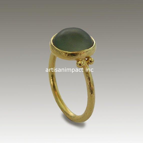 14k Gold Ring Yellow Gold Ring Jade Ring Stone Ring Gemstone