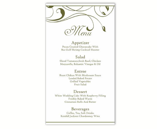 Wedding Menu Template Diy Card Editable Text Word File Instant Green Leaf Printable 4x7inch