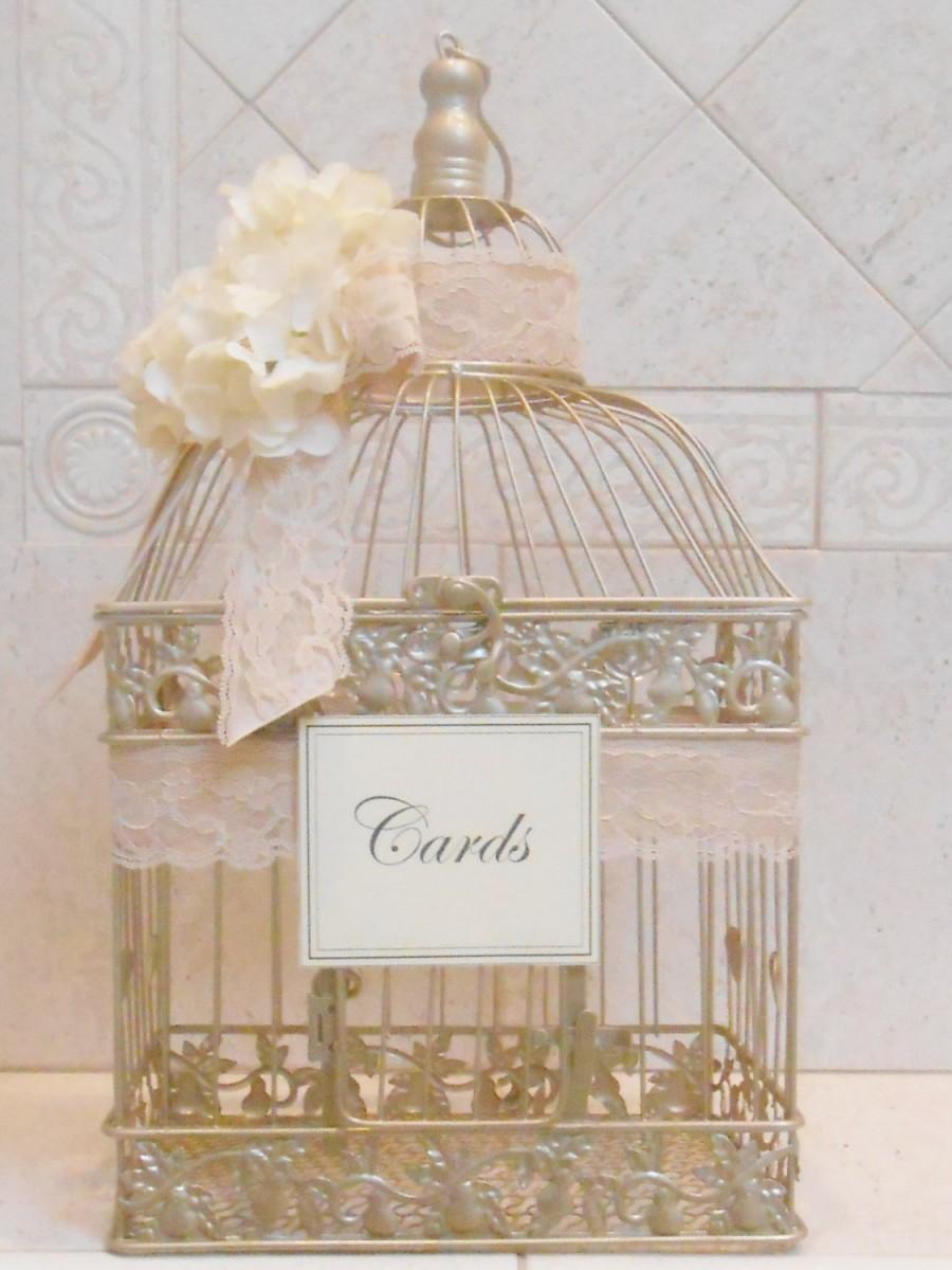 Large Birdcage Wedding Card Holder Champagne Gold Box Elegant Cardholder