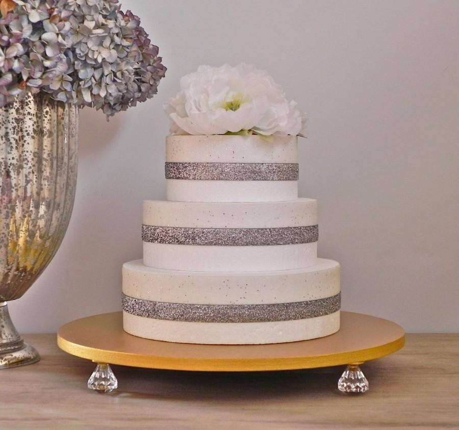 Gold Cake Stand 16 Wedding Topper Bling Metallic Event Decor E Isabella Designs As Featured In Martha Weddings