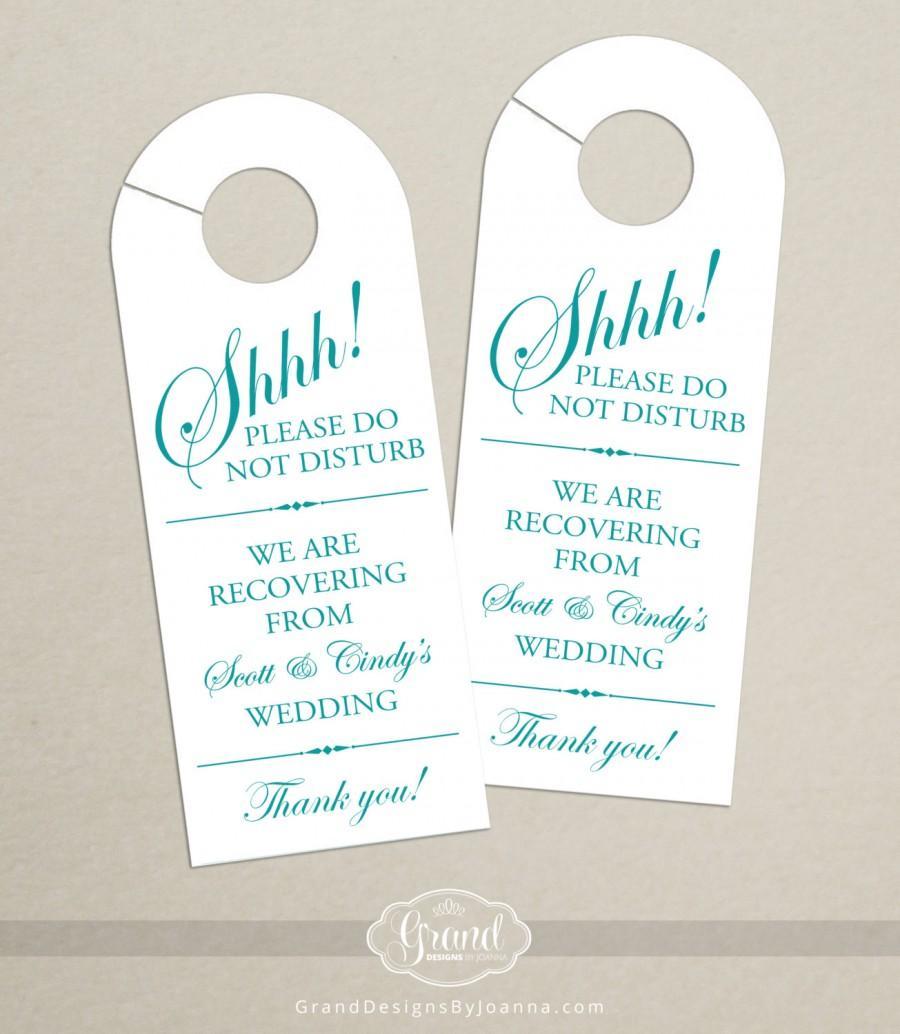 Perfect Set Of 10 - Door Hanger For Wedding Hotel Welcome Bag - Do Not  GH56