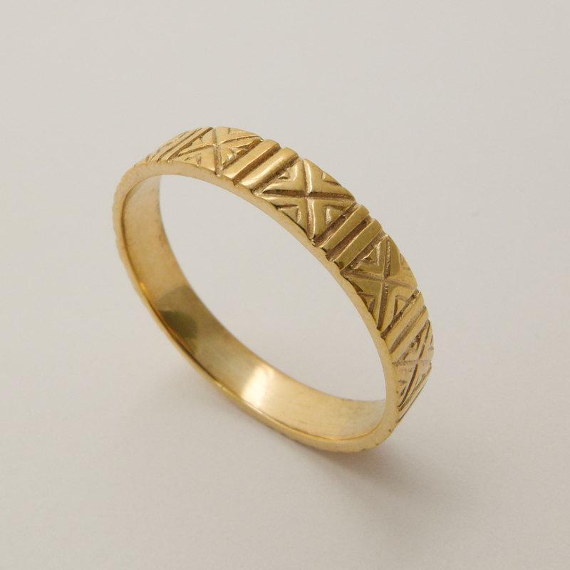 Engraved 14 Karat Gold Wedding Ring Patterned Handmade Bands Men And Women Solid Band