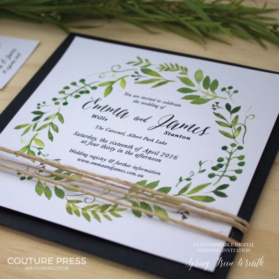 Printable Wedding Invitation Diy Watercolour Spring Green Wreath Only