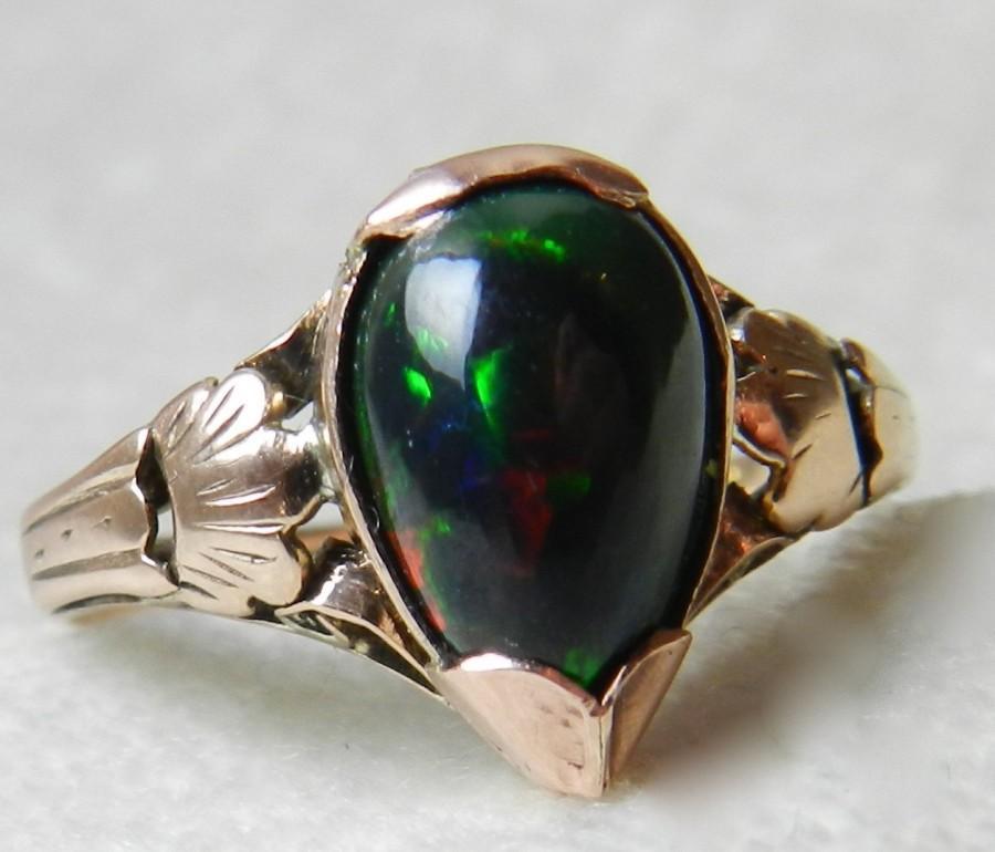 Antique Black Opal Ring Victorian Engagement 18k Rose Gold October Birthday Libra