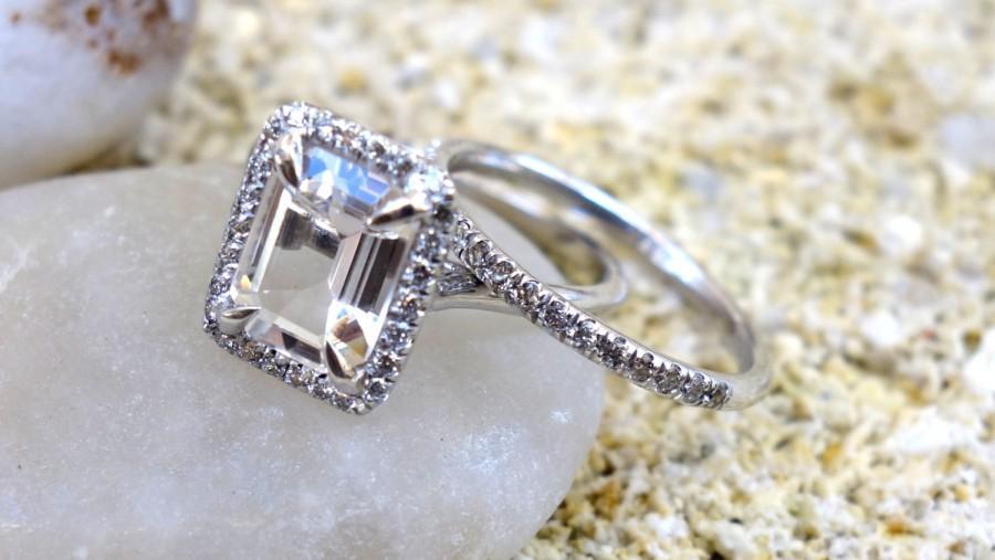 Diamond Engagement Ring Unique Halo White Gold Morganite Wedding Set Clic Rings Bridal Anniversary Unusual