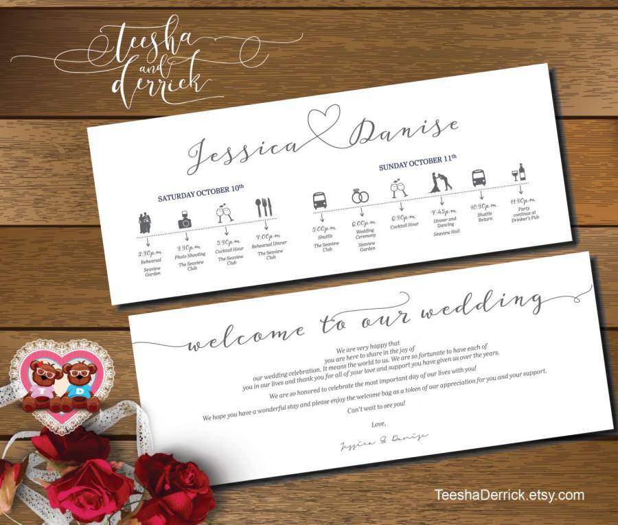Printable Wedding Weekend Timeline T0109 Itineraries With Welcome Note For Bags In Typography Theme