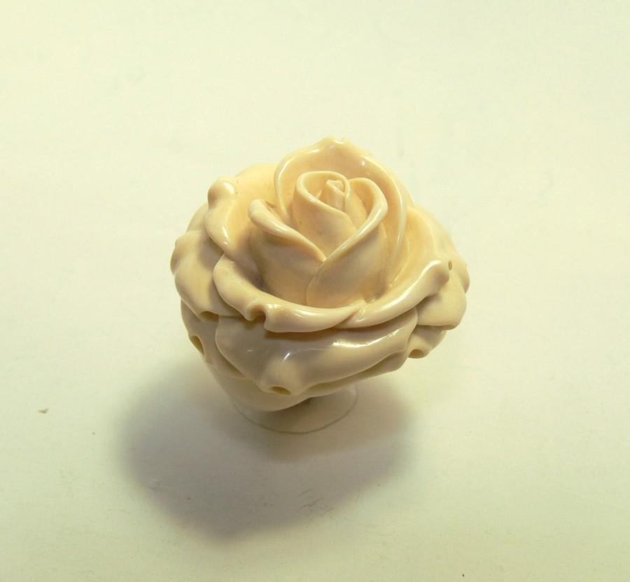 Rose Ring Ivory Flower Promise Rings Unique Engagement Natural Wedding Mom Jewelry Custom Band Any Size
