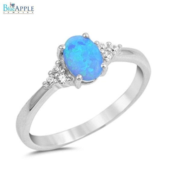 Oval Cut Blue Opal Ring Solid 925 Sterling Silver Lab Created Australian Round Russian Clear Diamond Cz Wedding Engagement