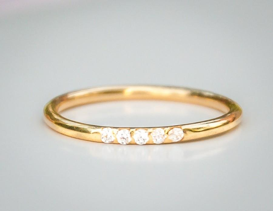 Thin Diamond Wedding Ring Band Simple 14k Gold Engagement