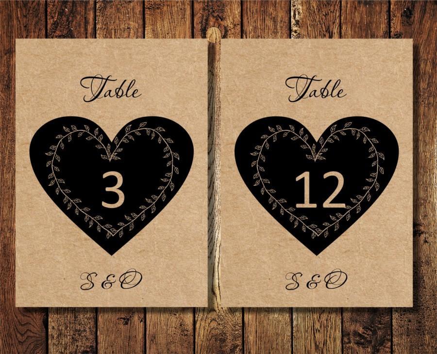 Diy Wedding Printable Table Numbers Rustic Heart Instant Template Digital Pdf You Print