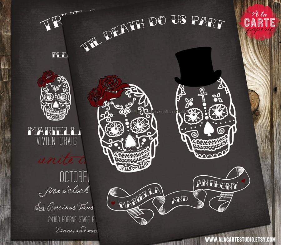 Til Do Us Part Chalkboard Inspired Wedding Invitation Skull Alternative Offbeat