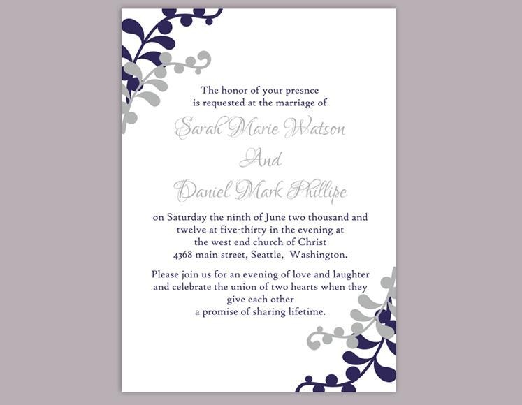 Diy Wedding Invitation Template Editable Word File Instant Printable Silver Gray Navy Blue
