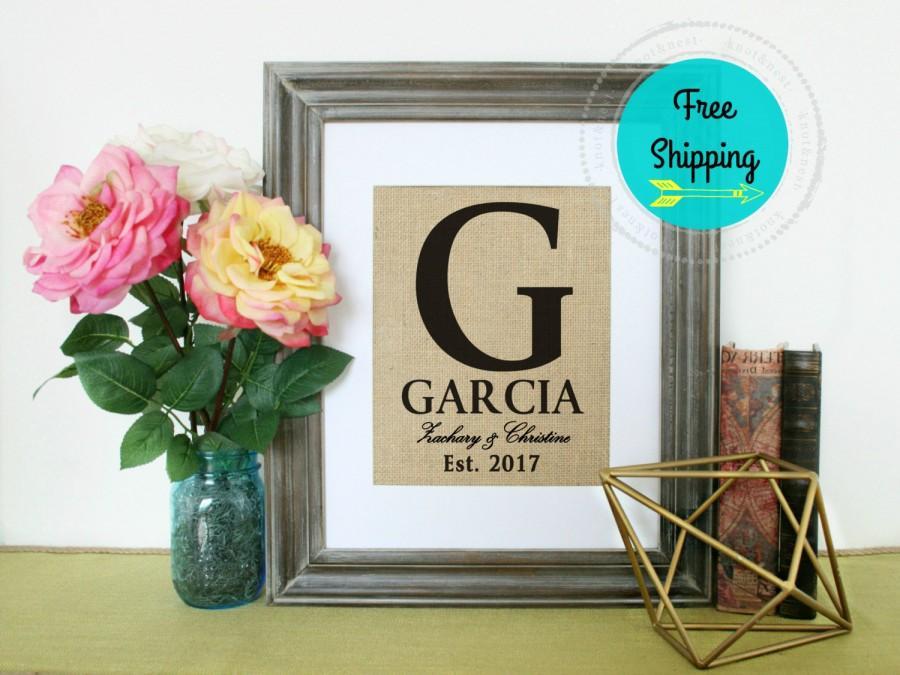 Burlap Monogram Wedding Personalized Family Sign Present Housewarming Gift Anniversary Print Elished