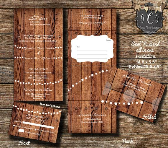 25 Rustic Wood Seal And Send Invitations Wedding N Invitation All In One Rsvp Postcard