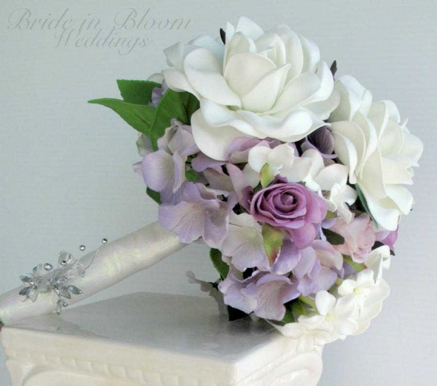 Gardenia Wedding Bouquet White Lavender Rose Bridal