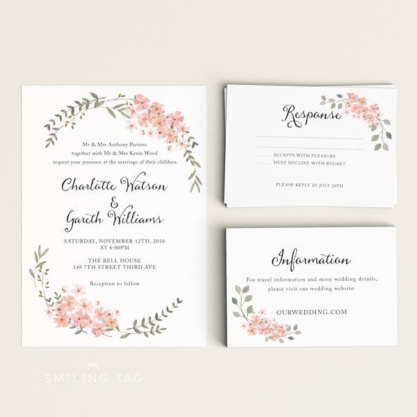 Printable Wedding Invitation Fl Ready To Print Pdf Letter Or A4 Size Item Code P668