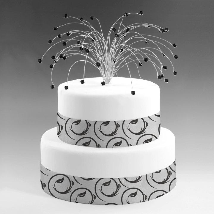 Wedding Cake Topper In Jet Black And Silver Swarovski Crystal Elements Fireworks Spray Birthday Decor Decoration