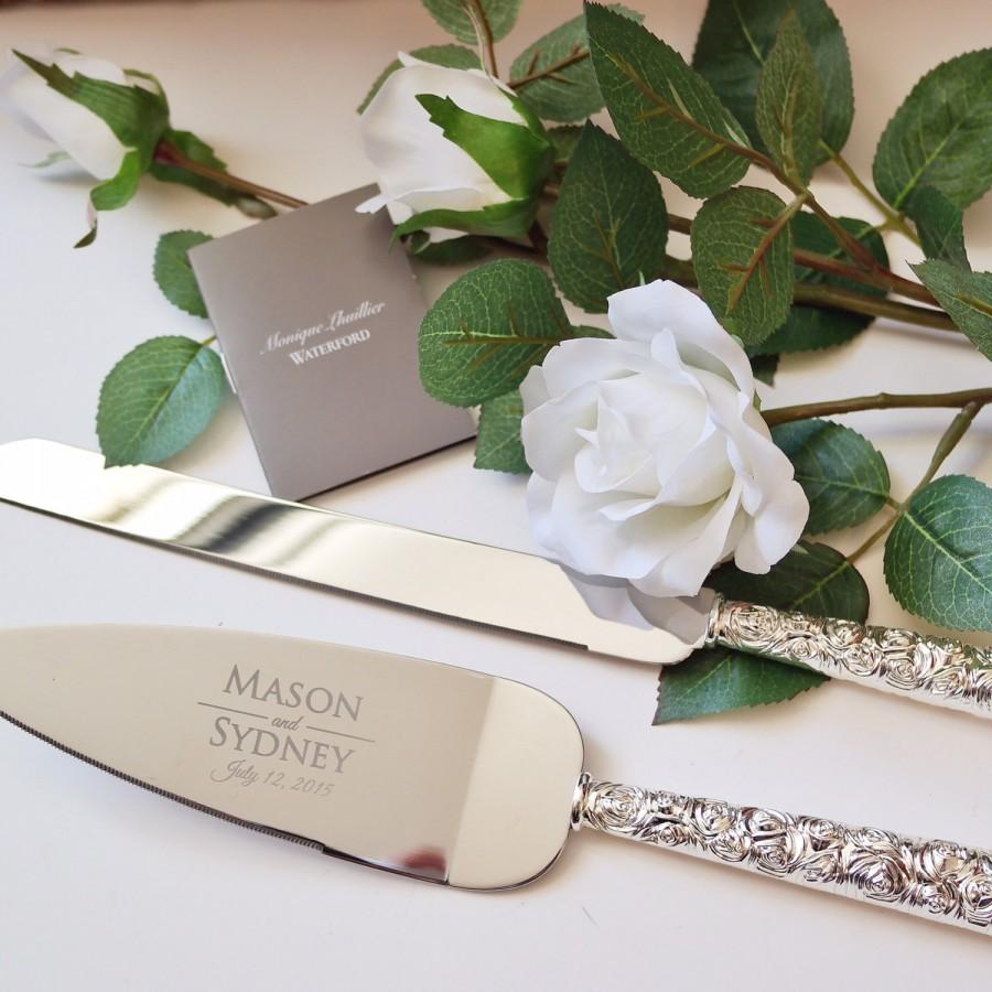 Waterford Monique Lhuillier Sunday Rose Cake Knife And Server Set 2 Pc Custom Engraved Wedding Gift