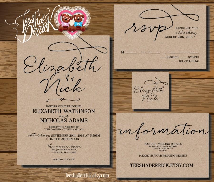 Custom Printable Wedding Invitation Suite W0210 Consists Of Card Rsvp Monogram And Info Designs