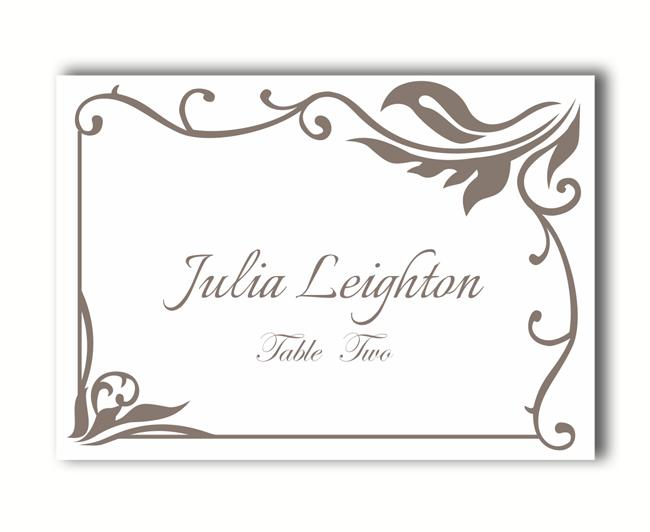 Free printable table place cards template for Templates for place cards for weddings